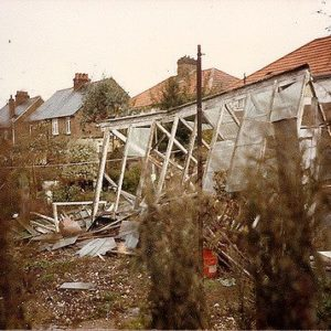 The Great Storm of 1987 greenhouse toppled