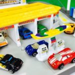 micro machines cars on a playset
